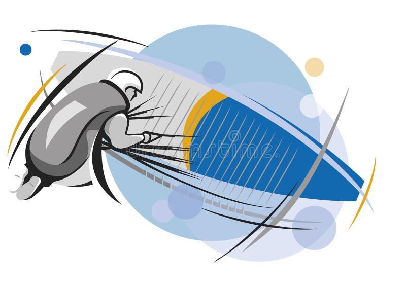 Een mensenvluchten een glijscherm stock illustratie