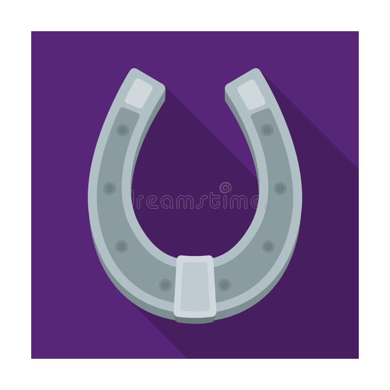 Een metaalhoef voor paarden Schoenen voor paarden om hoeven te beschermen Landbouwbedrijf en het tuinieren enig pictogram in vlak royalty-vrije illustratie
