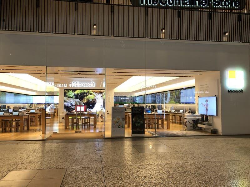 Een Microsoft-opslag in Eeuwstad stock foto's