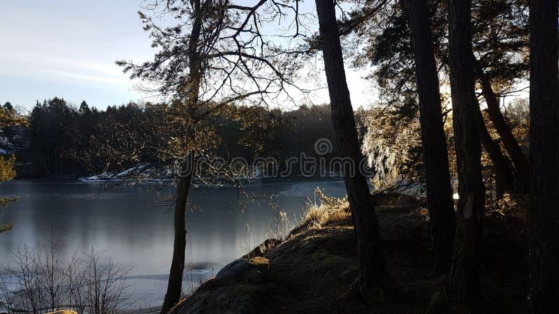 Een middelgrote koude zonnige dag door het meer stock afbeelding