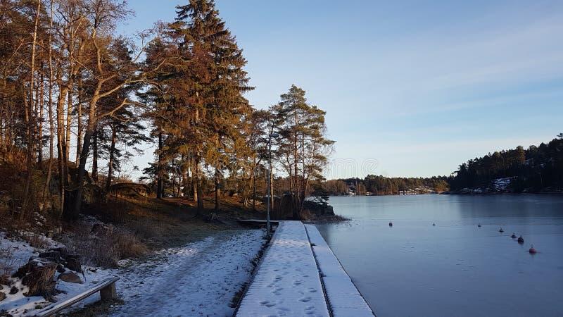 Een middelgrote koude zonnige dag door het meer stock fotografie