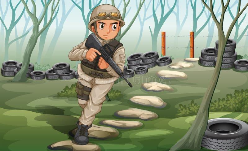 Een militair in het slagveld vector illustratie
