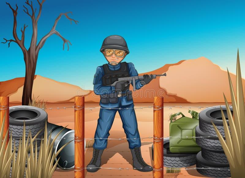 Een militair in het slagveld stock illustratie