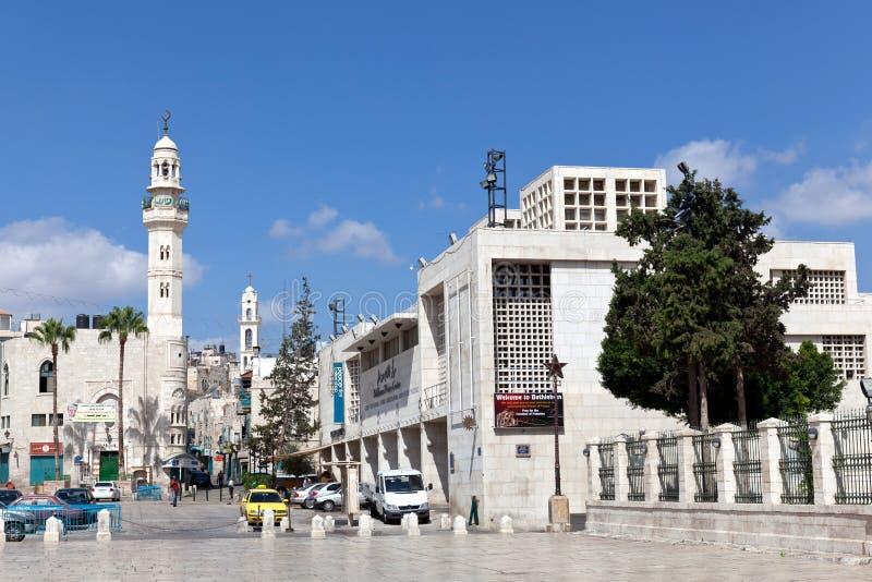Een minaret bevindt zich in het Vierkant van de Trog in Bethlehem royalty-vrije stock afbeelding