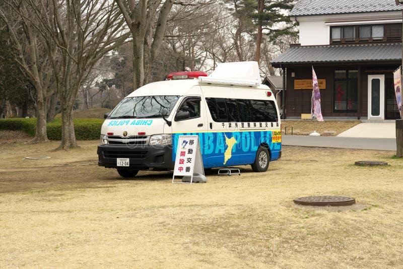 Een mobiele politiedoos of een Koban in Japan stock foto's