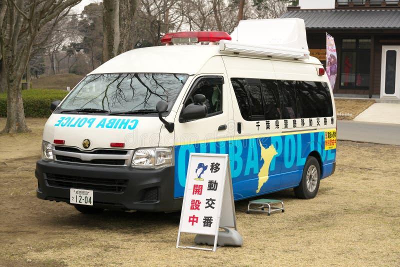 Een mobiele politiedoos of een Koban in Japan stock fotografie
