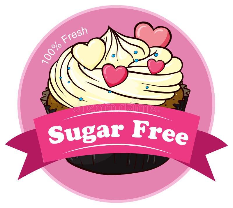 Een mochacake met een suiker vrij etiket vector illustratie