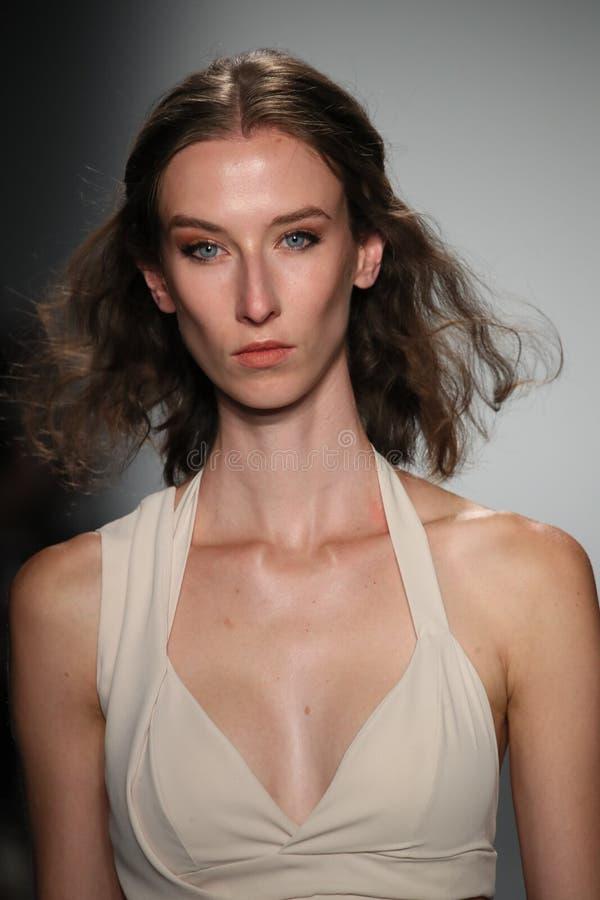 Een model loopt de baan die Lisa N dragen Hoang Spring 2017 royalty-vrije stock afbeeldingen