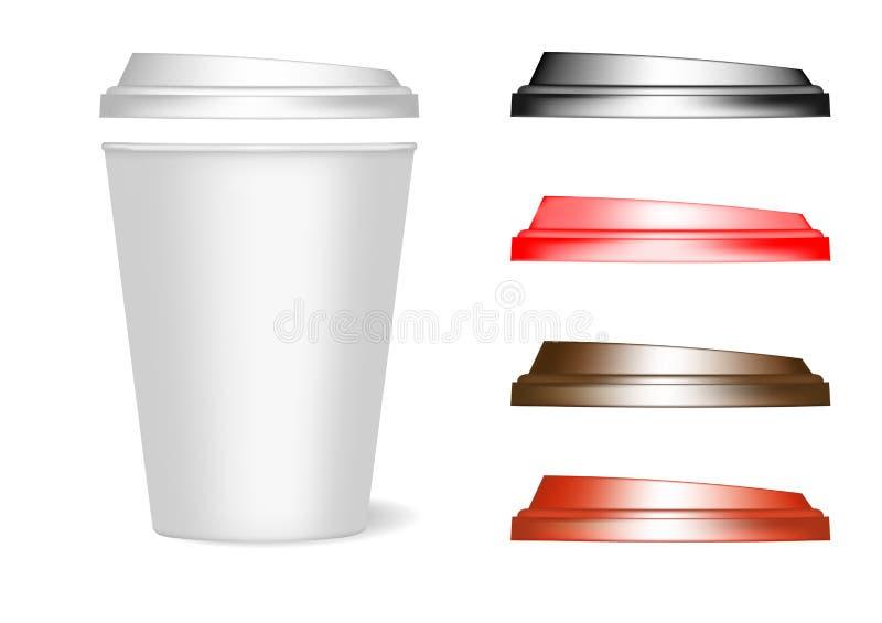 Een model van een document kop met deksels van verschillende kleuren voor koffie, thee, dranken, water Kan als malplaatje voor on royalty-vrije illustratie