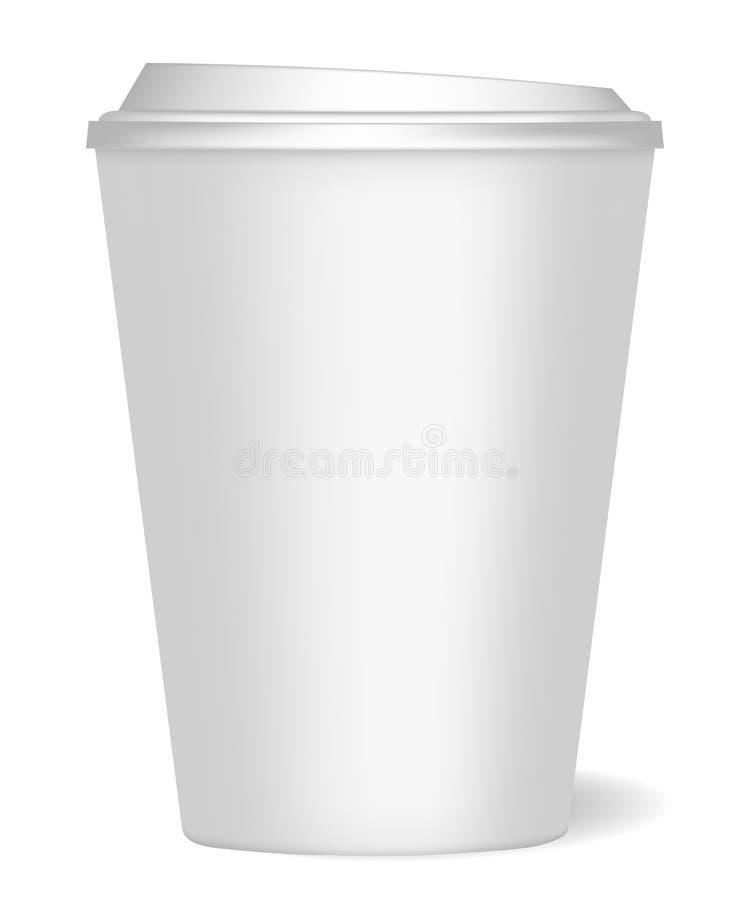 Een model van een document kop met realistische schaduw voor koffie, thee, dranken, water Kan als malplaatje voor ontwerp worden  royalty-vrije illustratie