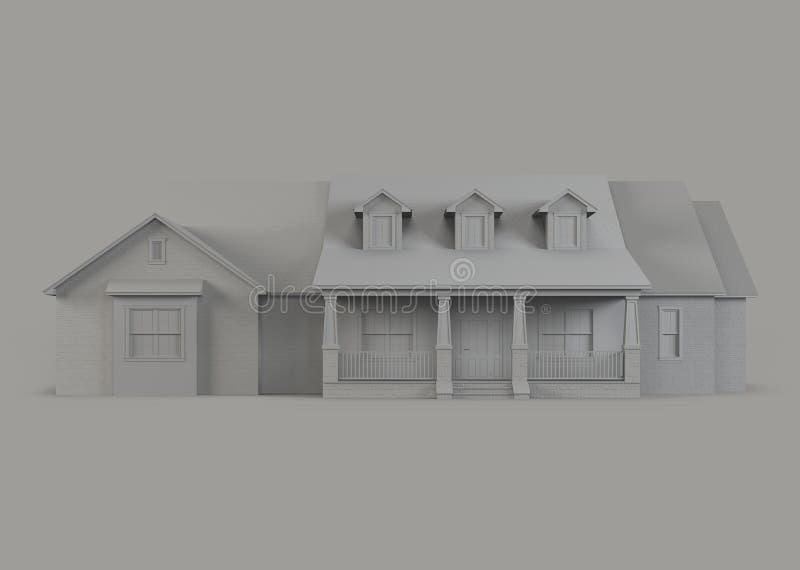 Een model van een huis met een garage stock illustratie