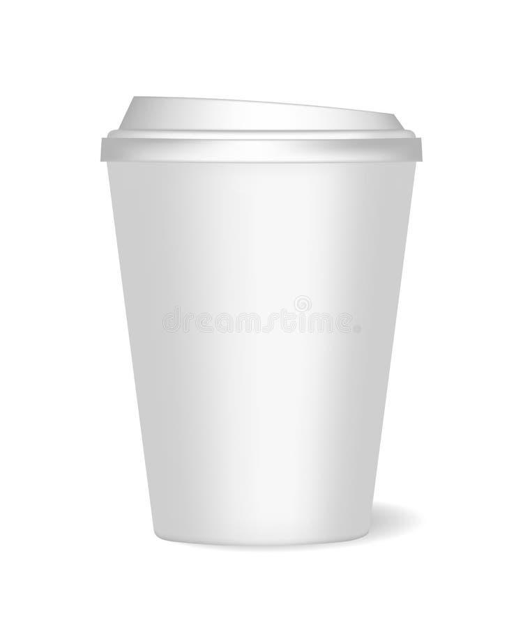 Een model van een smolldocument kop met deksel en realistische schaduw voor koffie, thee, dranken, water Kan als malplaatje voor  royalty-vrije illustratie