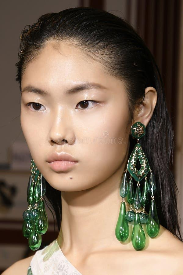 Een model wordt gezien de coulisse voor Etro tijdens Milan Fashion Week Spring /Summer 2018 toont stock fotografie