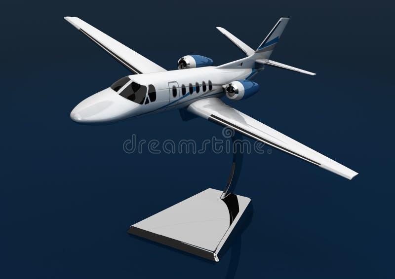 Een modelVliegtuig op een tribune stock foto's