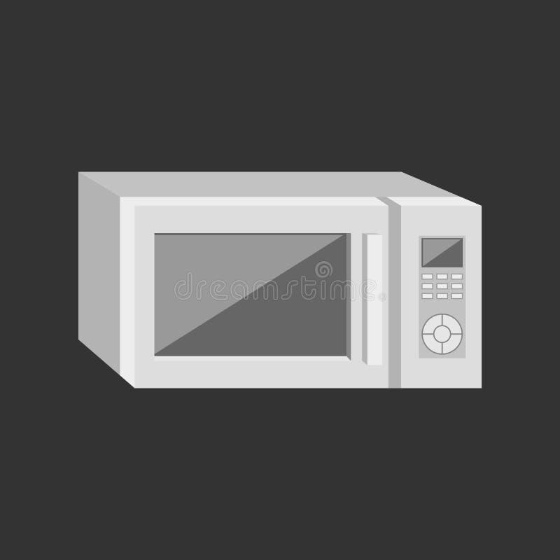 Een moderne magnetron met een vertoning en wijzen Vector illustratie Bedrijfs concept vector illustratie