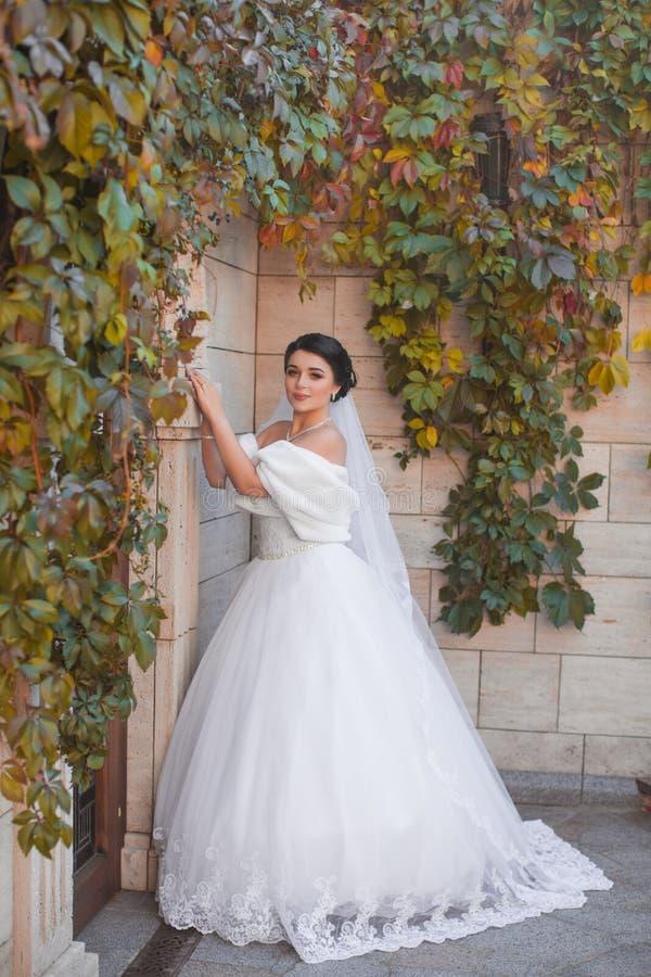 Een modieuze bruid bevindt zich door de bakstenen muur stock foto