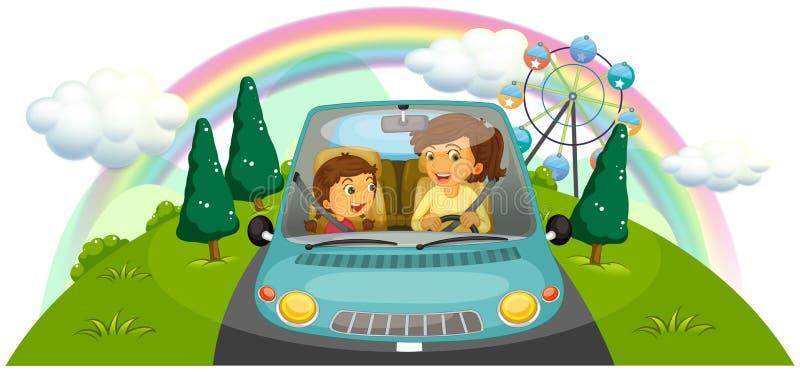 Een moeder die de auto met haar dochter drijven vector illustratie