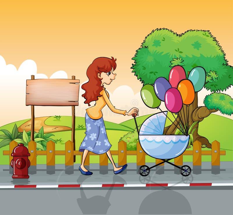Een moeder die met een wandelwagen wandelen stock illustratie