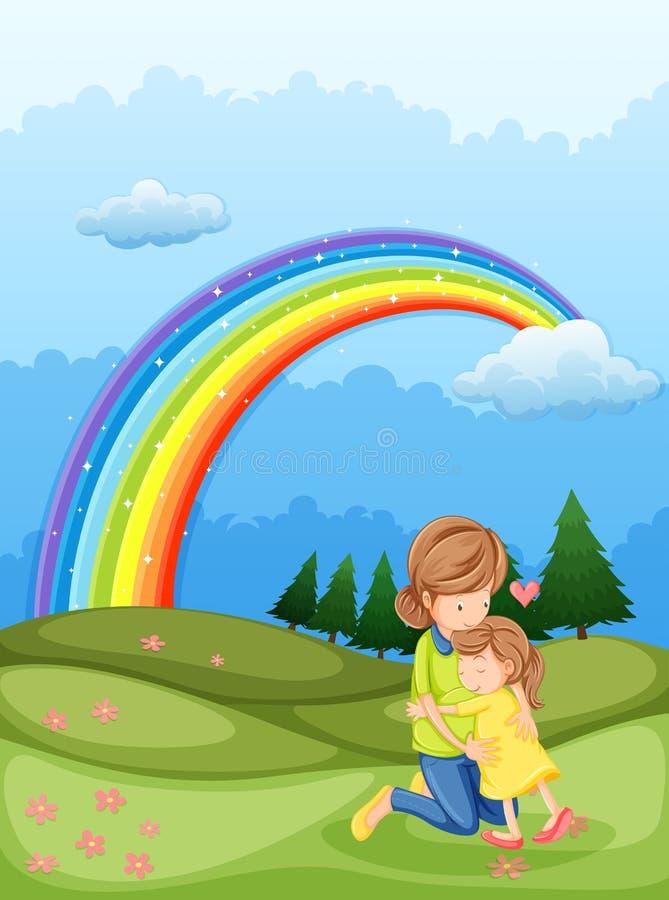 Een moeder en een kind die dichtbij de regenboog koesteren stock illustratie