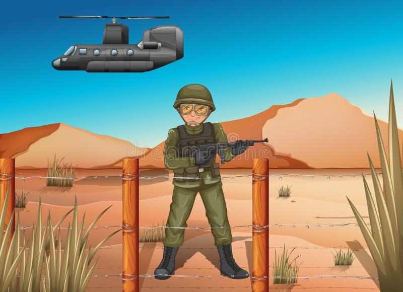 Een moedige militair in het slagveld stock illustratie