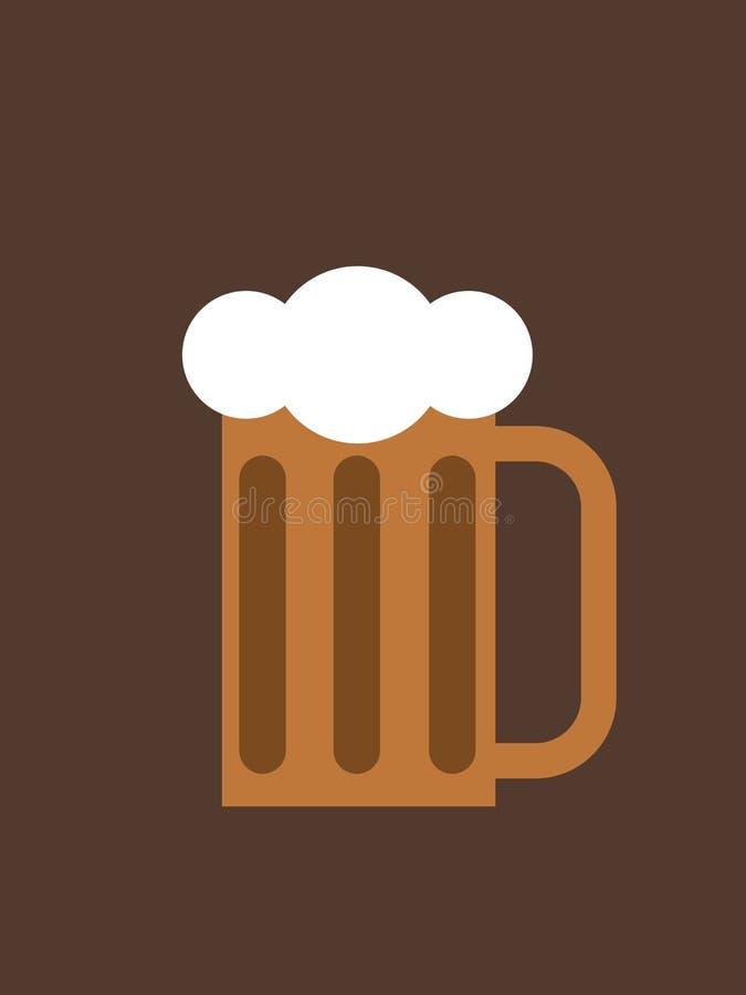 Een mok bier op een donkere achtergrond royalty-vrije illustratie