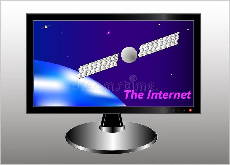 Een monitor met een symbolisch beeld van de aarde, een communicatiesatelliet in de geostationaire baan, een sterrige hemel en een royalty-vrije illustratie