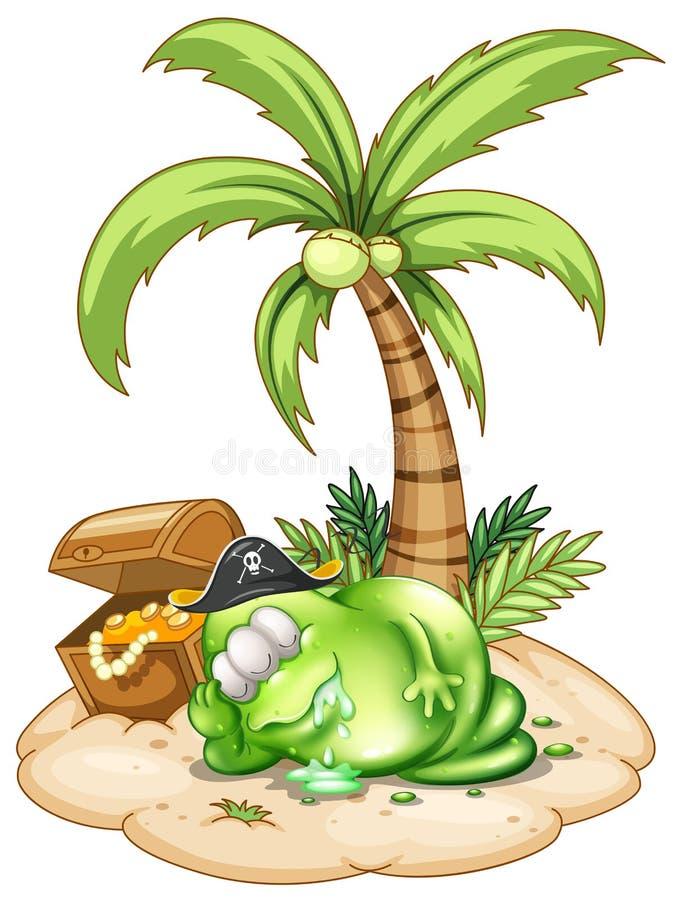 Een monster van de slaappiraat onder de kokospalm royalty-vrije illustratie
