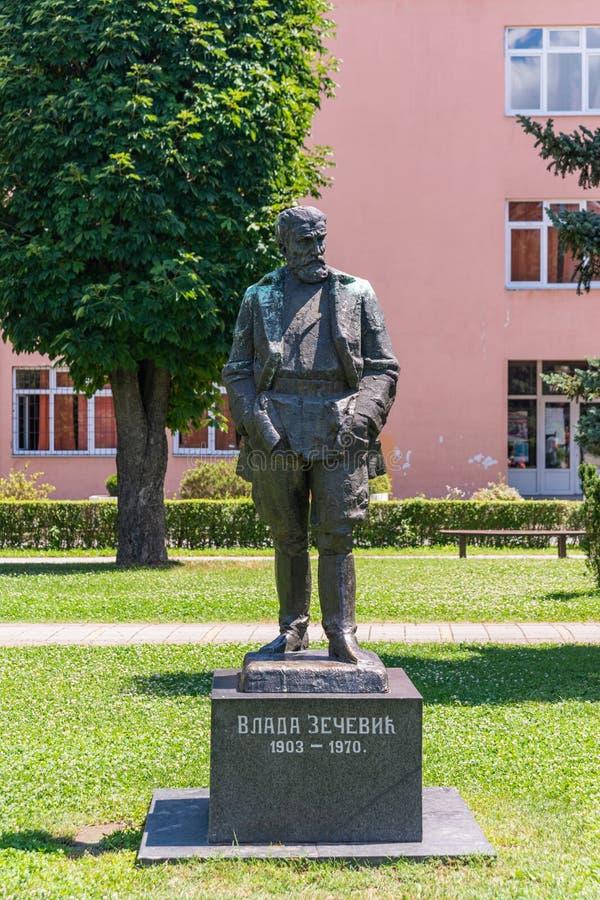 Een monument voor Vladimir 'Vlada' Zecevic in Loznica, Servië stock foto's