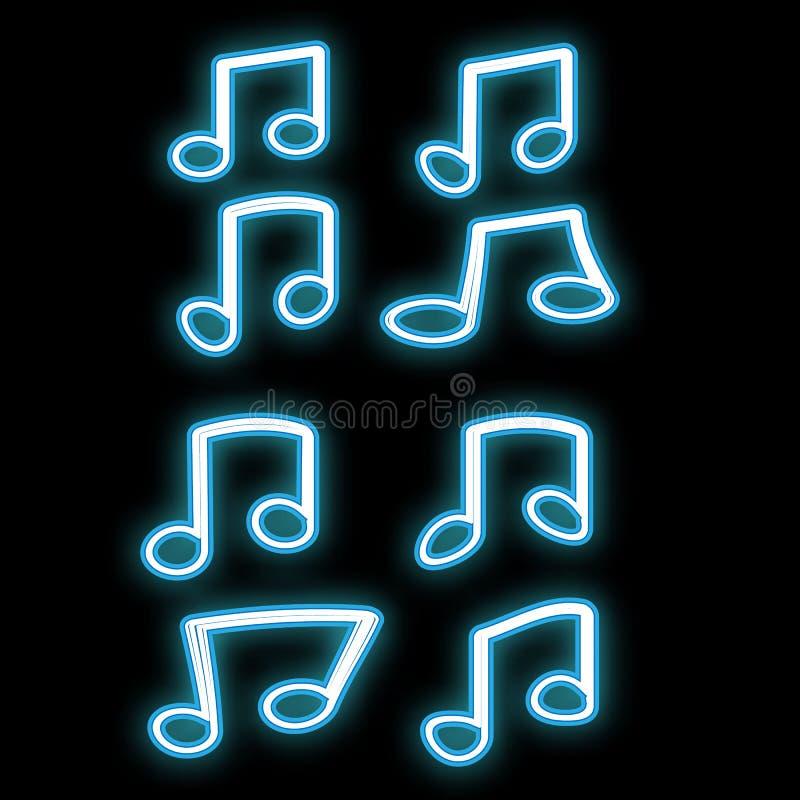 Een mooi abstract neon helder gloeiend pictogram, een uithangbord van een reeks nota's, het muzikale breien van verschillende vor royalty-vrije illustratie