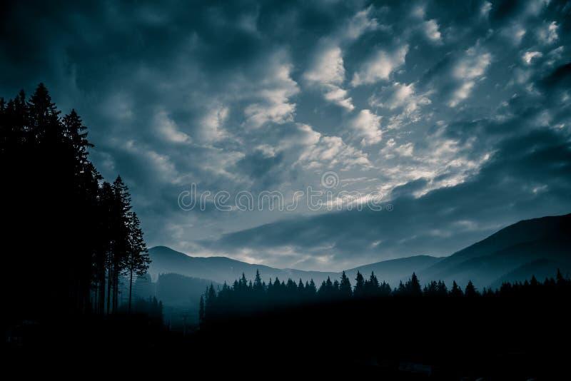 Een mooi, abstract zwart-wit berglandschap in blauwe tonaliteit stock fotografie