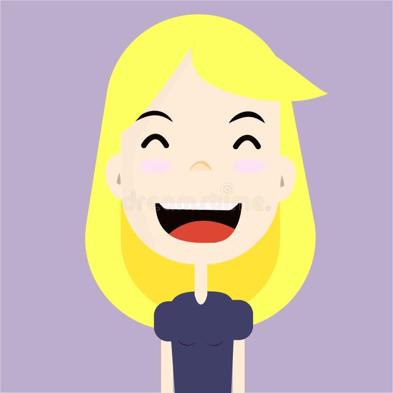 Een mooi blondemeisje op het lilac brede glimlachen als achtergrond met haar gesloten ogen stock fotografie
