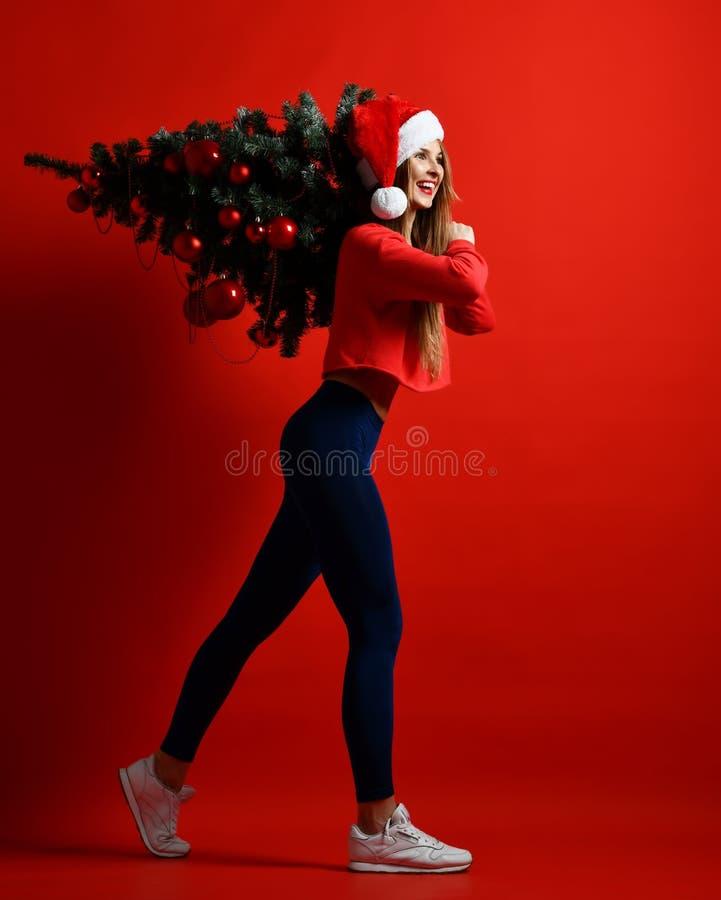 Een mooi jong atletisch meisje in een Santa Claus-hoed die een Kerstboom dragen verfraaide met ballen op haar schouder royalty-vrije stock foto's