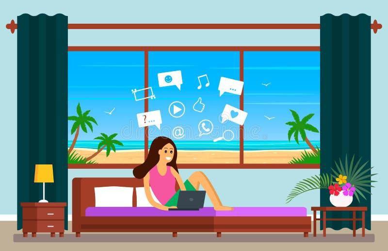 Een mooi jong meisje op vakantie in een hotelruimte zit op Internet en de sociale netwerken op zoek naar informatie Het concept royalty-vrije illustratie