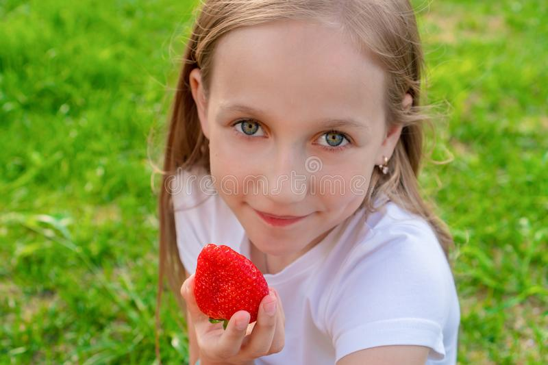 Een mooi kind met groene ogen houdt aardbeien in haar handen en glimlacht stock afbeelding