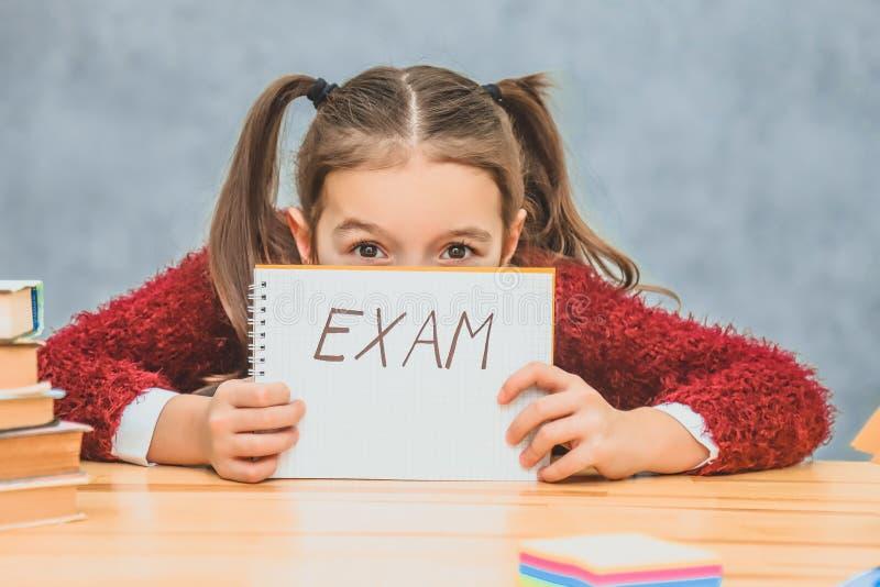 Een mooi klein schoolmeisje is droevig en overweldigd Het leiden van document met tekstexamen Geschreven zitting op de school stock foto