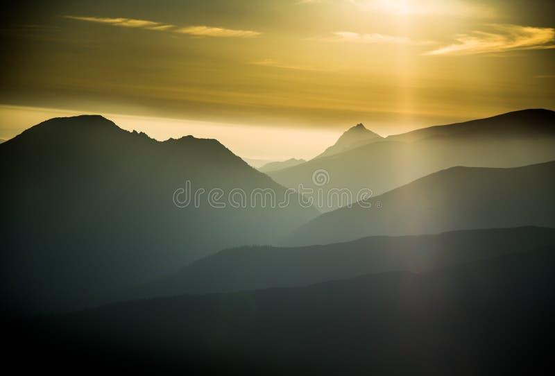 Een mooi, kleurrijk, abstract berglandschap met een hete de zomernevel in warme groene tonaliteit stock foto