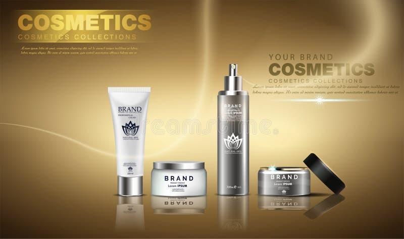 Een mooi kosmetisch advertentiesmalplaatje, een gouden flessenontwerp op een gouden glanzende achtergrond met plons bokeh en een  stock illustratie