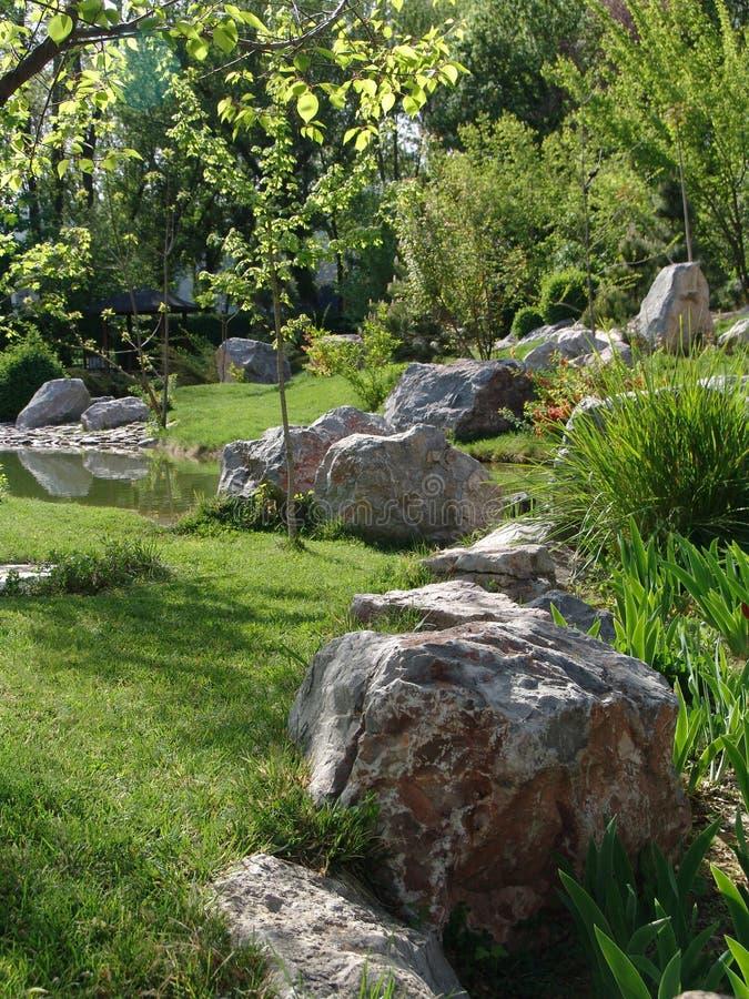 Een mooi landschap van bomen, rotsen en vijver stock afbeelding