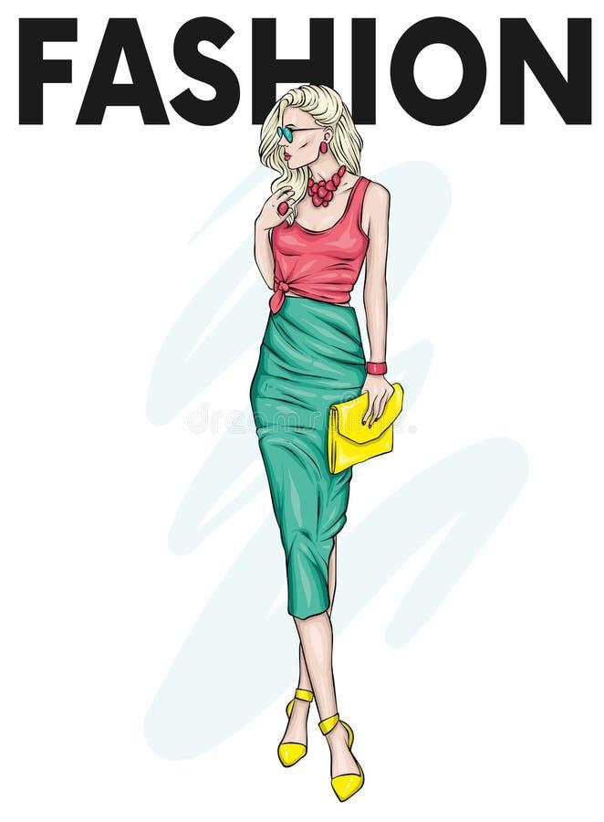 Een mooi, lang meisje met lange benen in een modieuze rok, glazen, blouse en in hoog gehielde schoenen Modieus kijk stock illustratie