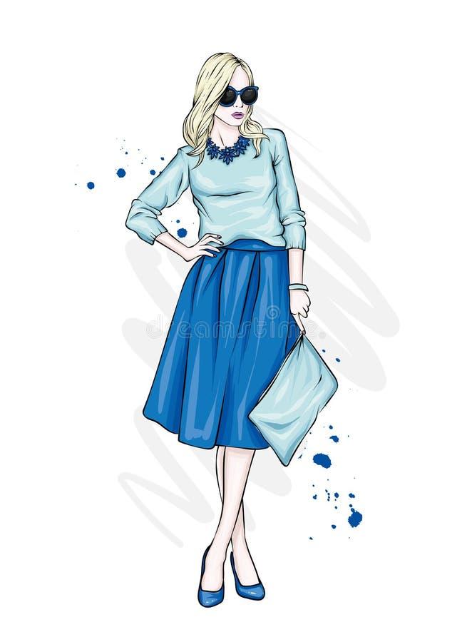 Een mooi, lang meisje met lange benen in een modieuze rok, glazen, blouse en in hoog gehielde schoenen Modieus kijk vector illustratie