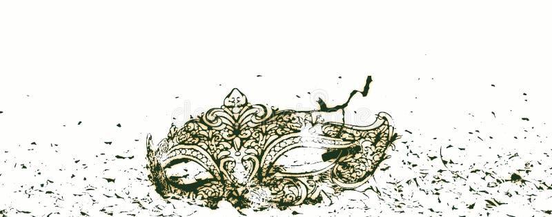 Een mooi masker op een witte achtergrond, klaar voor partijen en Carnaval stock illustratie