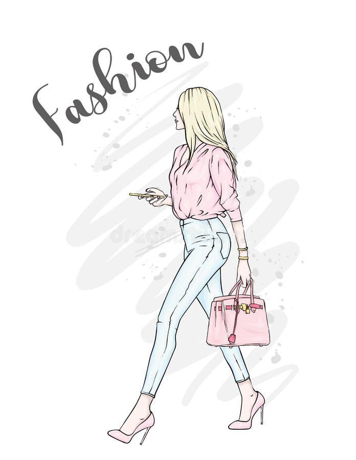 Een mooi meisje in jeans, een blouse en in high-heeled schoenen Een modieuze vrouw met lang haar en een zak Manier en Stijl royalty-vrije illustratie
