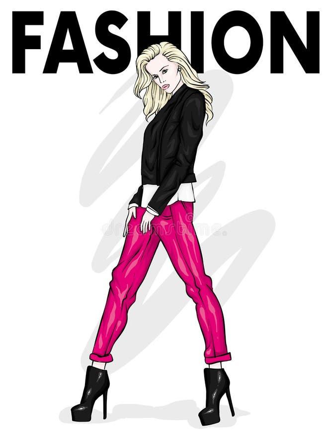 Een mooi meisje in jeans, een blouse en in high-heeled schoenen Een modieuze vrouw met lang haar en een zak Manier en Stijl stock illustratie