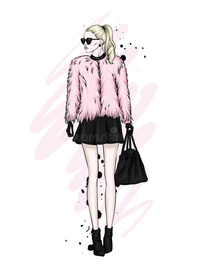 Een mooi meisje met lang haar in glazen, een bontjas, een rok en laarzen met hielen Vector illustratie royalty-vrije illustratie