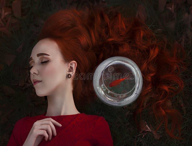 Een mooi meisje met lange rode haarslaap naast een goudvis in een aquarium Jonge redheaded vrouw Lein op de herfst stock fotografie