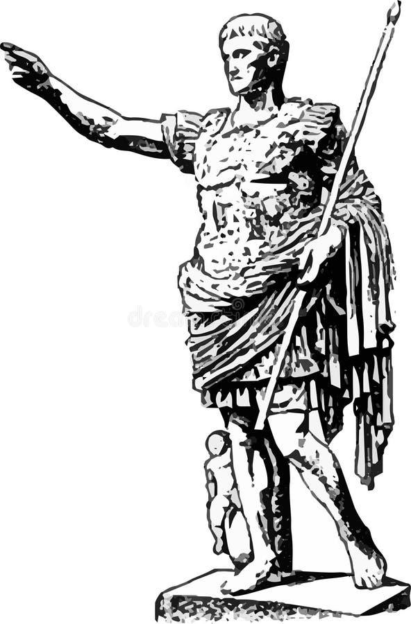 Een mooi monument aan de keizer Augustus op een witte achtergrond in grijs stock illustratie