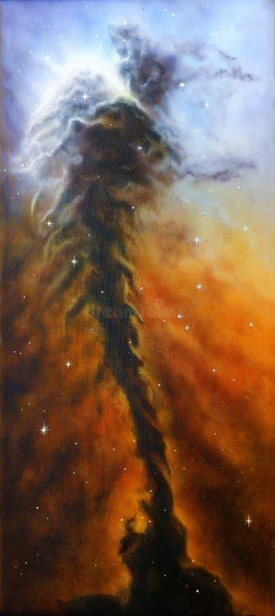 Een mooi olieverfschilderij op canvas van een nevelsdraaikolk op een cosm royalty-vrije illustratie
