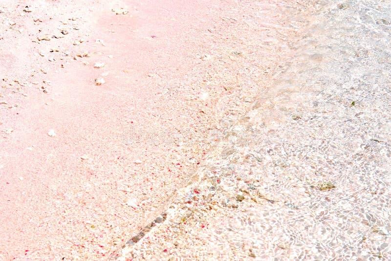 Een mooi Roze Strand en een blauw duidelijk water van Komodo-het Nationale Park van Eilandkomodo, Labuan Bajo, Flores, Indonesië stock fotografie
