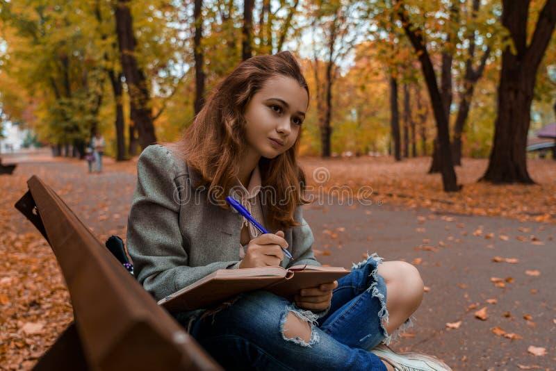 Een mooi tienermeisje zit in een laptop te schrijven stock afbeelding