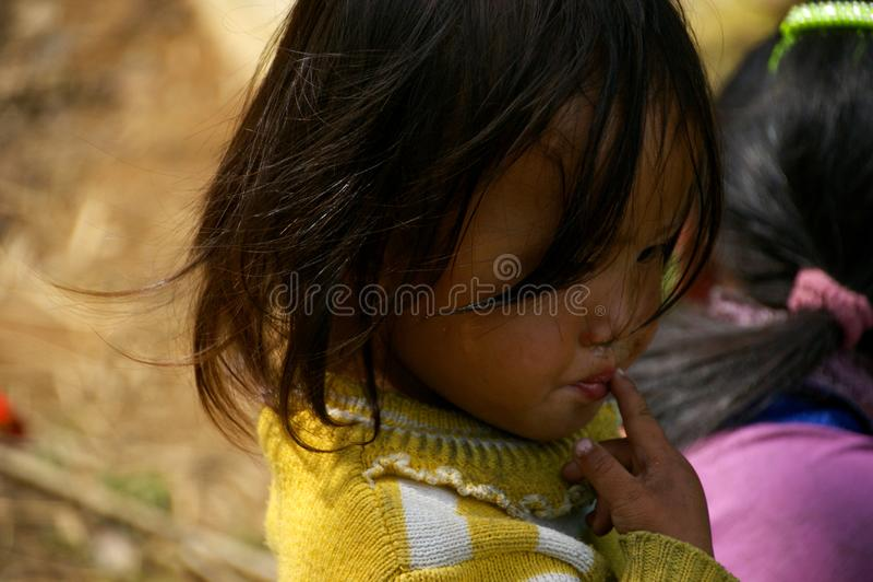 Een mooi Vietnamees meisje, een vertegenwoordiger van een kleine etnische groep Nationale minderheden in Sapa Sapa, Vietnam, Lao  royalty-vrije stock afbeelding